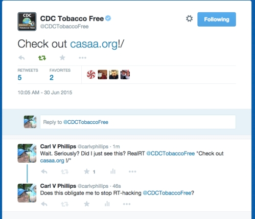 CDC tweets link to CASAA